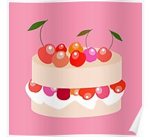 Sweet cake with cherries  Poster
