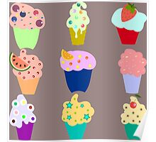 cupcakes with different toppings Poster