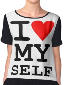 Parody, satire, humour, I heart MY self Chiffon Top