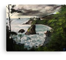 "Oregon Coast, West Coast America Acrylic Painting On 11"" x 14"" Canvas Board Canvas Print"