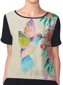 Whimsical watercolor hummingbird and  floral hand paint Chiffon Top