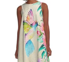 Whimsical watercolor hummingbird and  floral hand paint A-Line Dress