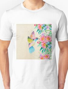 Whimsical watercolor hummingbird and  floral hand paint Unisex T-Shirt