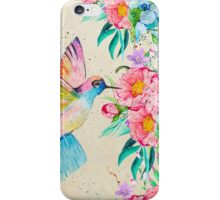 Whimsical watercolor hummingbird and  floral hand paint iPhone Case/Skin