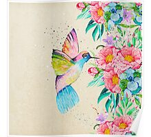 Whimsical watercolor hummingbird and  floral hand paint Poster