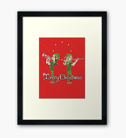 Elves Play Christmas Carols Framed Print