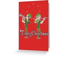 Elves Play Christmas Carols Greeting Card