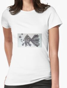 Goldfish Zentangle (black and white) Womens Fitted T-Shirt
