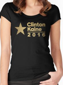 Clinton Kaine Logo 2016 Election Gold Tone Women's Fitted Scoop T-Shirt