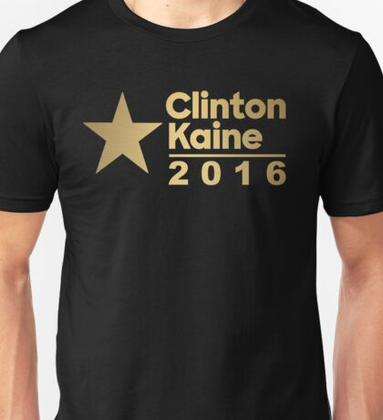 Clinton Kaine Logo 2016 Election Gold Tone Unisex T-Shirt
