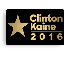 Clinton Kaine Logo 2016 Election Gold Tone Canvas Print