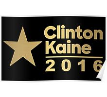 Clinton Kaine Logo 2016 Election Gold Tone Poster