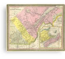Vintage Map of Eastern Canada (1850) Canvas Print