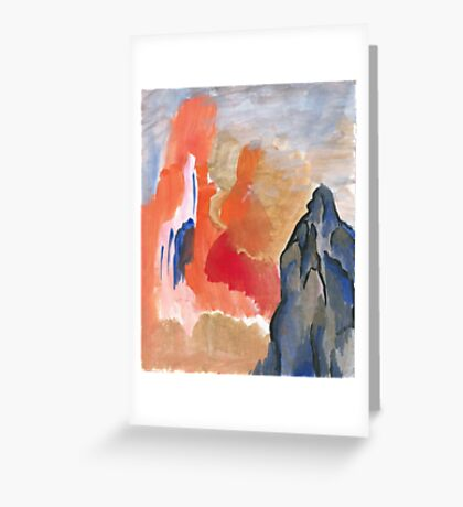 Asian Mountain Abstract Landscape Greeting Card