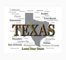 Texas State Pride Map Silhouette  Kids Tee