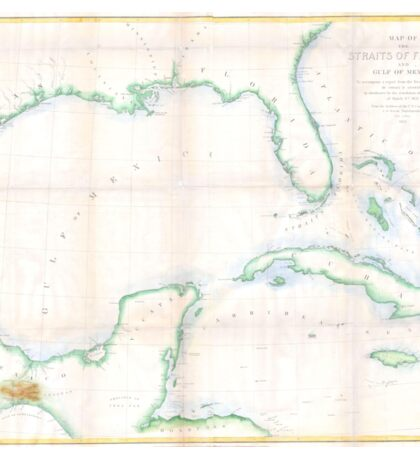 Vintage Map of The Gulf of Mexico (1852) Sticker