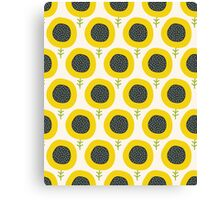 Simple abstract  sunflower pattern. Doodle pastel seamless background. Cute wallpaper. Canvas Print