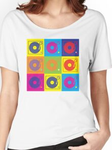 Vinyl Record Turntable Pop Art 2 Women's Relaxed Fit T-Shirt