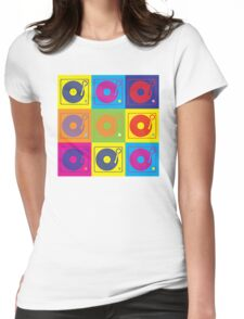 Vinyl Record Turntable Pop Art 2 Womens Fitted T-Shirt