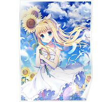 Large Eyes And Sunflowers Poster