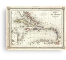 Vintage Map of The Caribbean (1852) Canvas Print