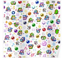 Bubble Bobble - White Poster