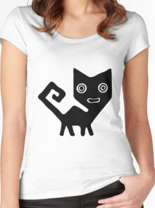 Black Peruvian Puma Cat Illustration Women's Fitted Scoop T-Shirt