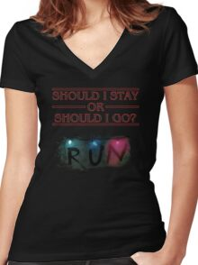 Stranger Things - Should I Stay or RUN? Women's Fitted V-Neck T-Shirt