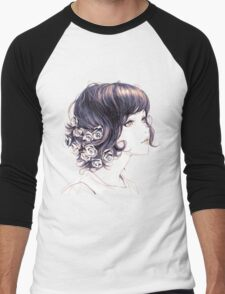 Cute Lady with flowers on hair drawing Men's Baseball ¾ T-Shirt
