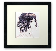 Cute Lady with flowers on hair drawing Framed Print