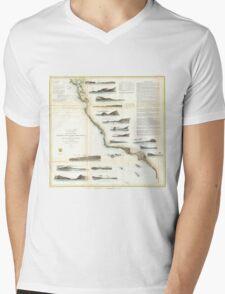 Vintage Map of The U.S. West Coast (1853) Mens V-Neck T-Shirt