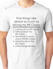5 Things I Like - Range Rover Classic Unisex T-Shirt