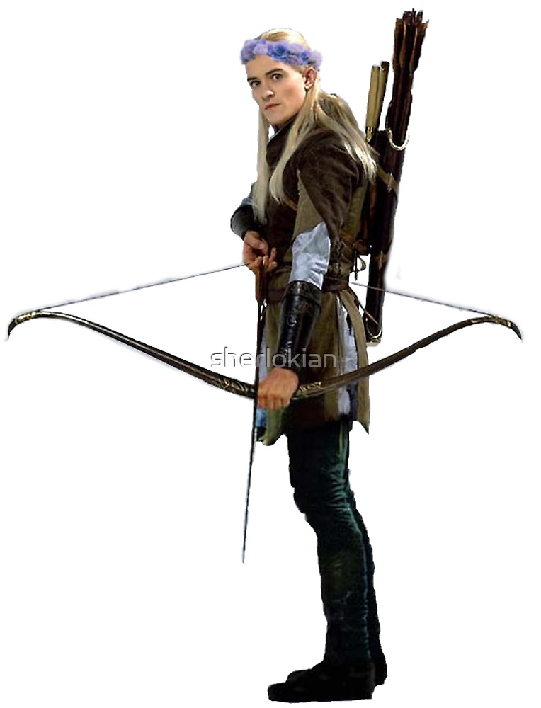 legolas with flower crown by sherlokian