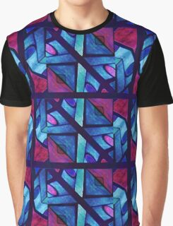 Abstract in Red and Blue Graphic T-Shirt