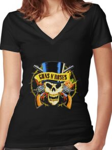 Gun And Roses Women's Fitted V-Neck T-Shirt