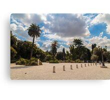 palms in the Pincio Garden in Rome Canvas Print