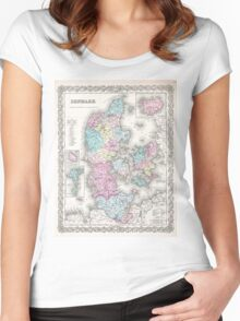 Vintage Map of Denmark (1855) Women's Fitted Scoop T-Shirt