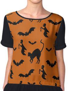 Halloween Pattern Print Chiffon Top