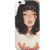 Cute lady yawning brush art iPhone Case/Skin