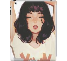 Cute lady yawning brush art iPad Case/Skin