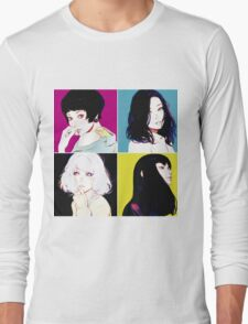 Four Ladies drawing with neon style background Long Sleeve T-Shirt