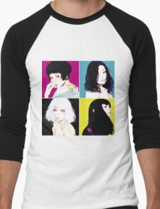 Four Ladies drawing with neon style background Men's Baseball ¾ T-Shirt