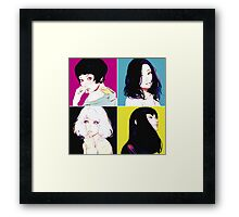 Four Ladies drawing with neon style background Framed Print
