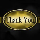 Black & Gold Floral Button Thank You Card  by treasured-gift
