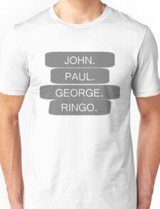 The Beatles Members Names T-shirt 4 60s Rock Music John Lennon Unisex T-Shirt