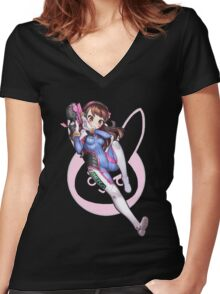 Overwatch D. VA Women's Fitted V-Neck T-Shirt