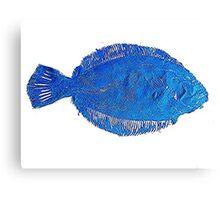 Gyotaku fish rubbing, Florida Flounder,Surreal Blue Canvas Print