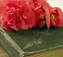 Begonias On Vintage Books by Sandra Foster
