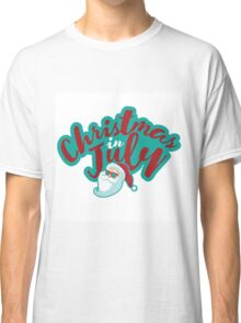 Christmas in July typography with cartoon Santa  Classic T-Shirt