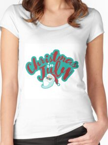 Christmas in July typography with cartoon Santa  Women's Fitted Scoop T-Shirt